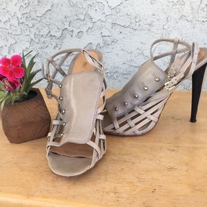 L.A.M.B Strappy  Sandal Heels Taupe